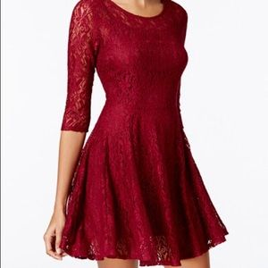 Maroon/red lace skirt dress